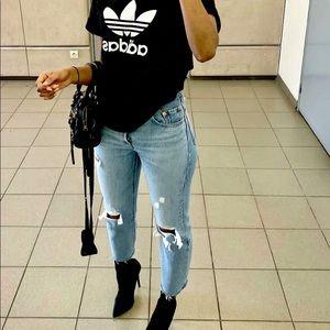 Denim - Boyfriend Frayed Ankle 90s Denim Jeans